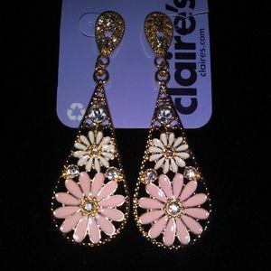 Floral Earrings with rhinstones